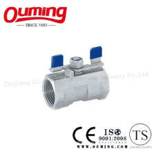 1PC Stainless Steel Threaded Ball Valve with Butterfly Handle