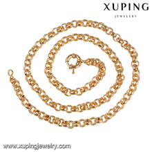 43859 xuping top grade de seda fio de latão correntes colar de ouro falso cheio de jóias com preço de promoção