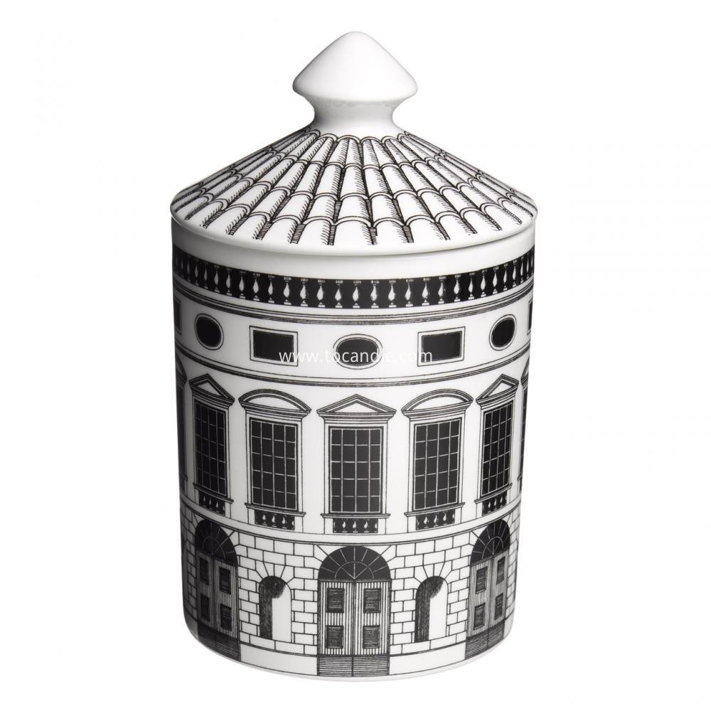 house picture ceramic scented candle with roof lid