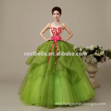 2017 Plus Size Puffy Tulle Parttern Green Wedding Dress Imported From China