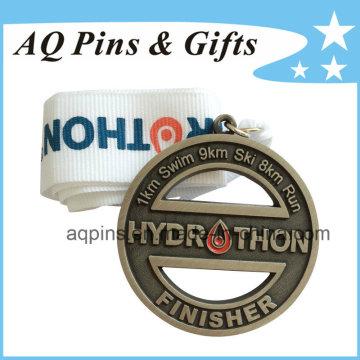 Medalha de liga de zinco personalizada com acabamento corajoso
