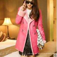 Pink Shearling und Lamm Ledermantel Long Style