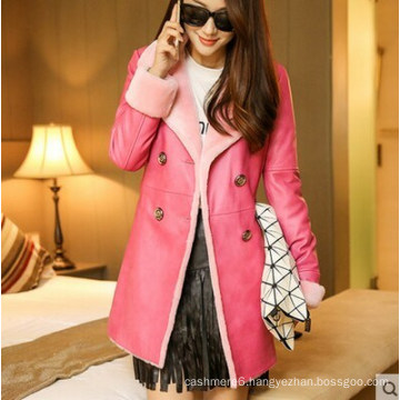 Pink Fashion Lady′s Shearling and Lamb Leather Coat Long Style
