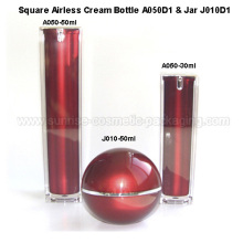 30ml 50ml Square Shape Red Vacuum Cream Bottle 50ml Ball Sha