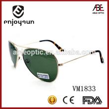 Óculos de sol de metal duplo de metal verde escuro com UV400