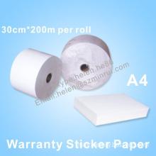 Manufacturer Supply Self Destructive Warranty Paper Roll And Sheet