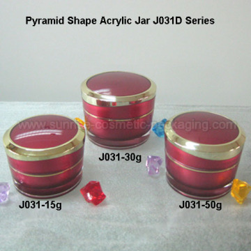 15ml 30ml 50ml Pyramid Shape Red Acrylic Skincare Jar