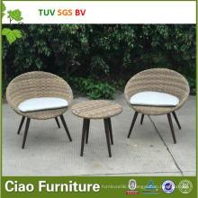 Table et chaise en osier de rotin extérieur synthétique unique de meubles de jardin