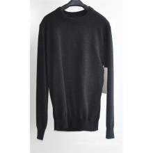 Rodada pescoço cor pura sweater pullover para homens
