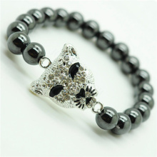 Hematite 8MM Round Beads Stretch Gemstone Bracelet with Diamante alloy leopard head Piece