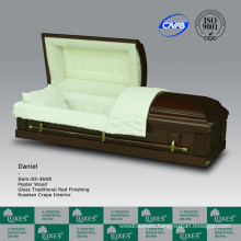 Fancy New American Style Solid Wooden Casket Coffin For Funeral Cremation