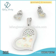 Belo aço inoxidável prata coração locket jóias brinco e conjunto