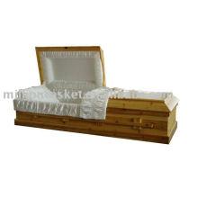 producto de funeral de cremación abeto sólido cofre madera