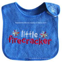 Benutzerdefinierte Buchstaben bestickt blau weiche Frottee-Baby-Latzhose