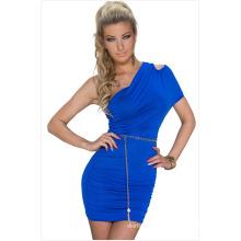 Oblique плеча новая мода сексуальные Леди складки летнее платье для партии девочек