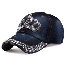 Spring and Summer Crown Diamond Baseball Cap Cotton Denim Cap Sun Protection Hat