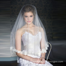 Elegant Royal Length Wedding Veil With Beautiful Lace Edge