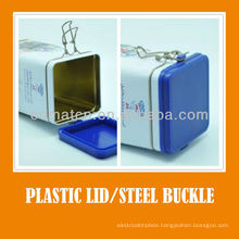 Airtight cap and plastic lid with steel buckle for cooky jar production