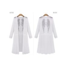 2017 New Arrival Fashion Women White Black Casual Long Coat