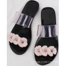 Sandálias pretas sexy / PVC cristal / geléia sapatos para senhoras
