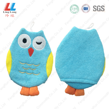 Pretty owl baby body bath gloves