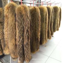 Custom natural color real raccoon fur collar trimming fur trim strips for hood