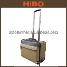 2 wheels vintage men canvas leather travel trolley luggage bag