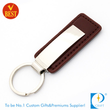 High Quality Novelty Branded Cheap Nickle Metal Brown Leather Key Ring From China