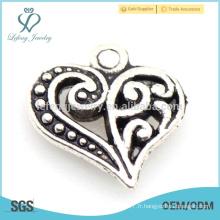Hot new alliage love heart charm, costume métal argenté