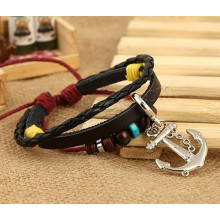 2015 fashion Cowhide Anchor Bracelet,multi layered leather bracelet
