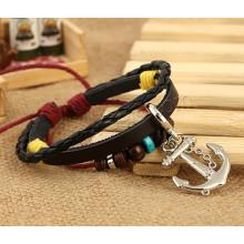 2015 moda Cowhide Anchor Bracelet, pulseira de couro multi camadas
