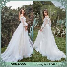 Long sleeve boho wedding dress bridal gown vestido de noiva from China wedding dress manufacturer Bella Bride
