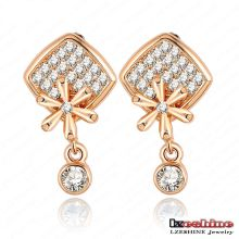 Gold Platred Crystal Square with Flower Dangle Party Earring (ER0024-C)