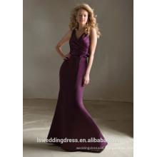 HB2122 Plain style ruchd top ribbons sleeveless full length long cheap sexy v neck mermaid satin dress