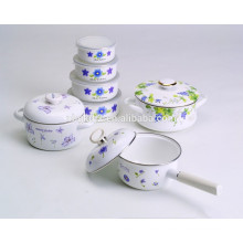 printing decals enamel cookware 4 sets of new high pot &bowl & sauce pan