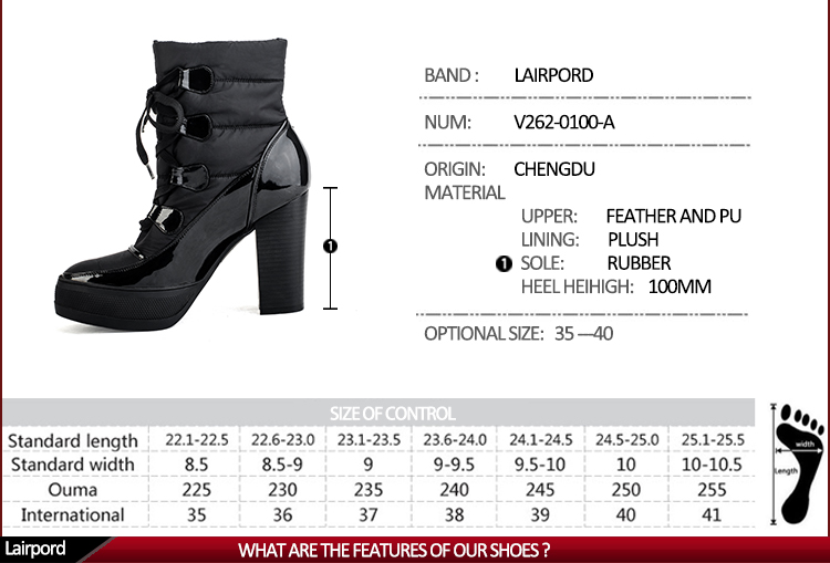 platform shoelace cotton warm ankle women boots