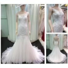 De alta calidad cuello escote sin mangas ver a través de corsé abierta trasera Mermaid encaje Appliqued Beadings sirena de la boda DressA060