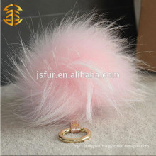 2015 Brand Design Fluffy Real Raccoon Fur Ball Car Accessory Key Chain with Big Pompoms