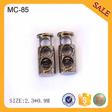 EC85 Wholesale hollow out cord toggle fasteners,metal spring lock stopper,metal stop of cord