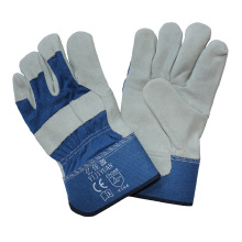 En388 Leather Safety Workers Working Gloves with Rubberized Cuff