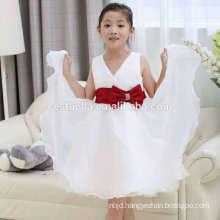 2016 Cheap soft tulle chic white girl wedding party dress flower girl dress birthday dresses with lovely shape