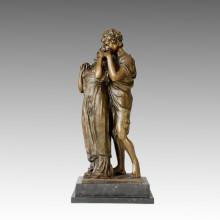 Figura clásica de bronce escultura amantes de decoración casera de latón estatua TPE-035