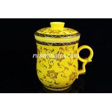 Gelber Ringelblumen-Keramik-Teebecher mit Insert-Sieb-300ml