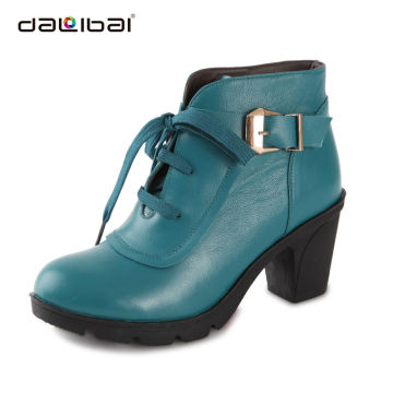 ladies leather high heel thick rubber sole safety boots shoes