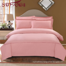Luxury Comfortable Adult Queen Size Hotel bed sheets Linen Supplier 100% Cotton Plain pink Bed Sheets Set embroidery