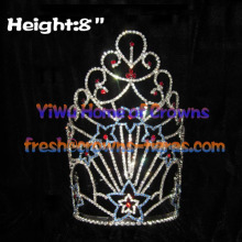 8inch Star Crystal Rhinestone Pageant Crowns---Forth Of July