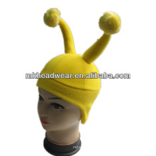yellow funny fleece hat with horns