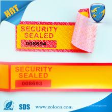 Anti-falso código de barras falsificação evidência garantia de segurança vazio etiqueta de impressão