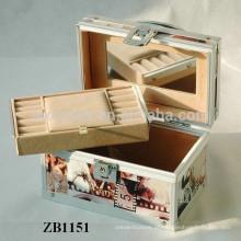 Nova caixa de joias de alumínio de chegada com pele de couro e uma bandeja removível para dentro