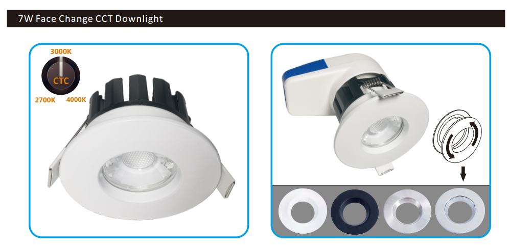 7w face cover change smart led down light